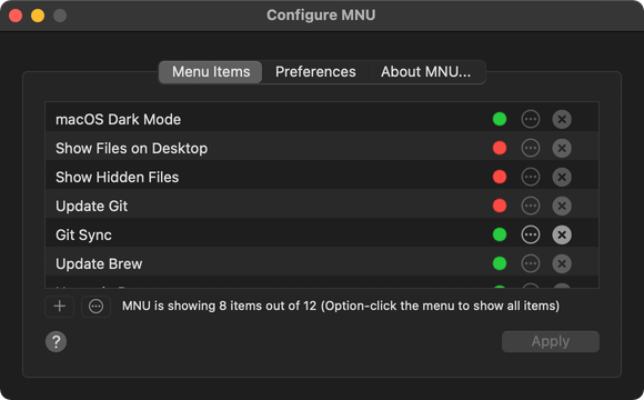 The Menu Items tab is where you choose what item MNU shows