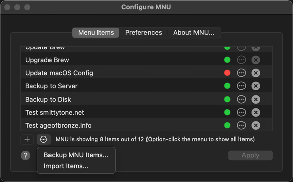 You can save a backup of your MNU items