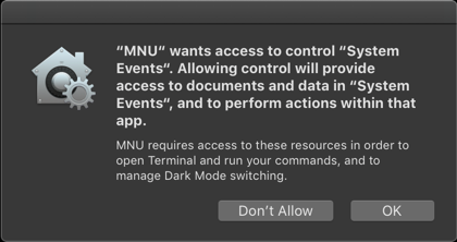 MNU requires System Events permissions